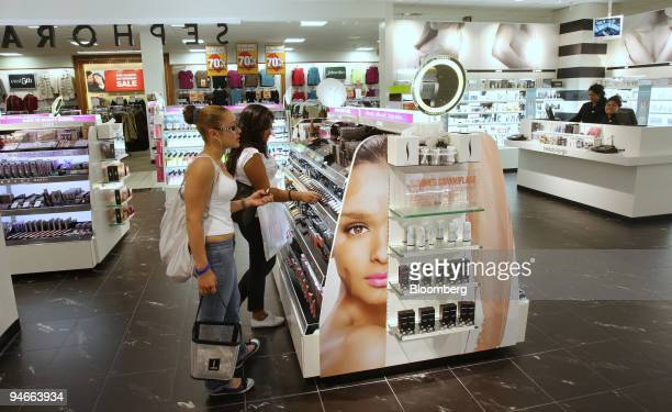Delilah Cordoba left and Caroline Garcia both students at Bryant High School shop in the Sephora section at a JC Penney store on Aug 3 in New York