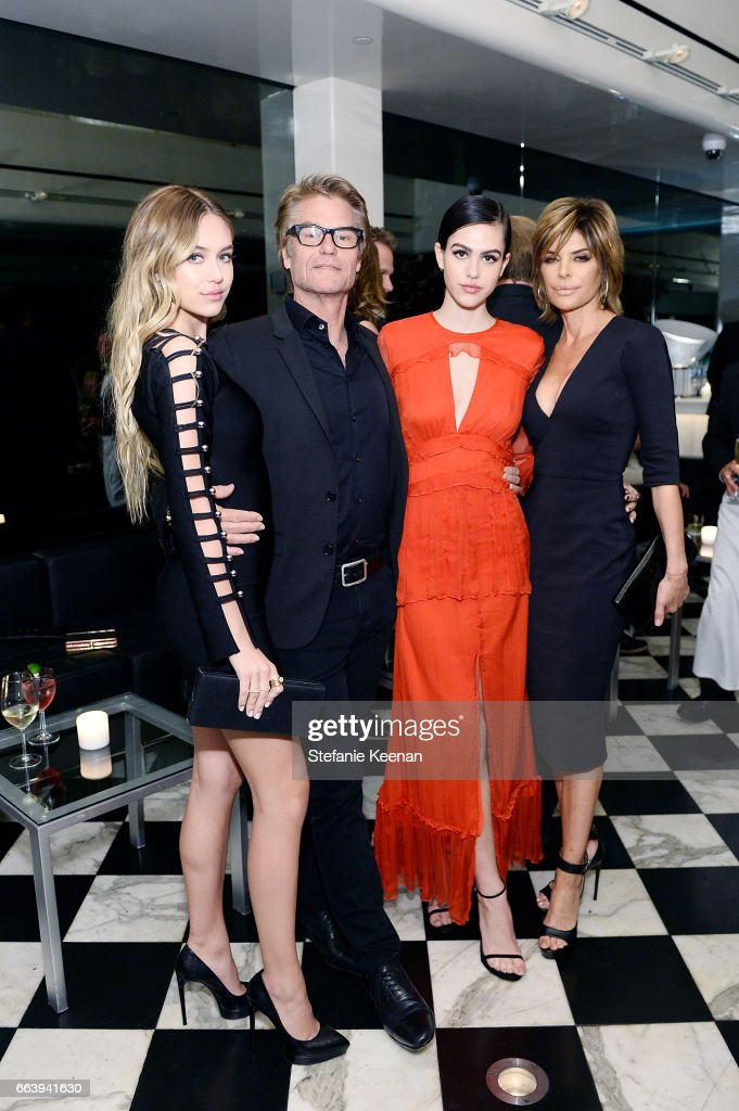 Delilah Hamlin, Harry Hamlin, Amelia Hamlin and Lisa Rinna attend The Daily Front Row and REVOLVE FLA after party at Mr. Chow hosted by Mert Alas on April 2, 2017 in Los Angeles, California.