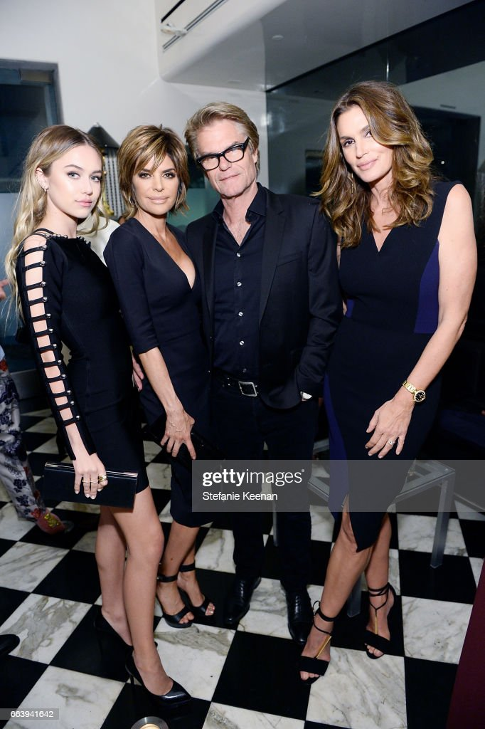 Delilah Hamlin, Lisa Rinna, Harry Hamlin and Cindy Crawford attend The Daily Front Row and REVOLVE FLA after party at Mr. Chow hosted by Mert Alas on April 2, 2017 in Los Angeles, California.