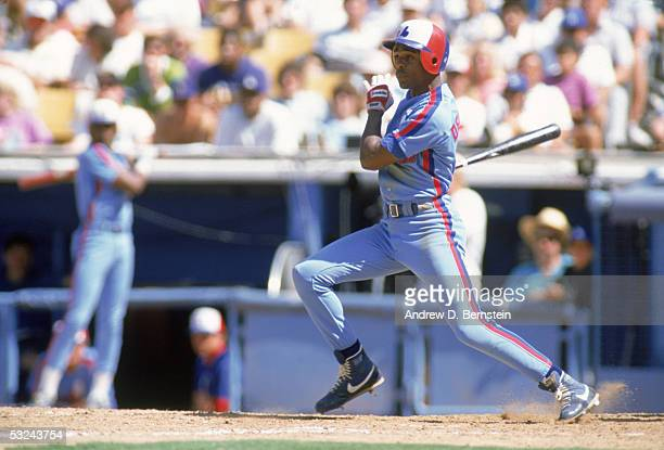 Delino DeShields of the Montreal Expos makes the hit during a 1990 season game Delino DeShields played for the Expos from 19901993
