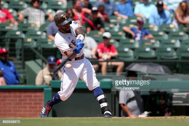 Delino DeShields of the Texas Rangers at bat against the Chicago White Sox in the bottom of the third inning at Globe Life Park in Arlington on...