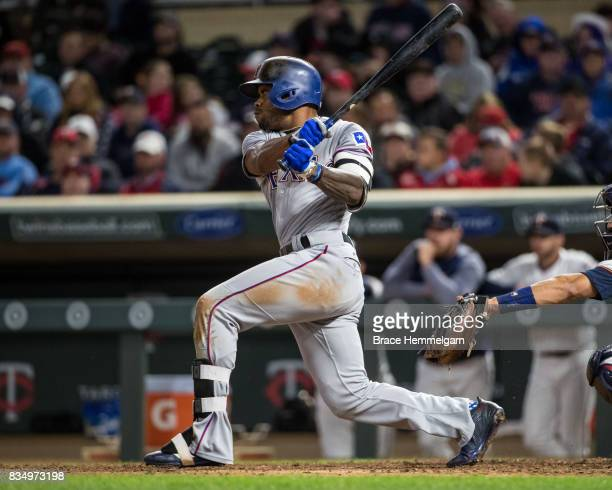 Delino DeShields of the Texas Rangers bats against the Minnesota Twins on August 3 2017 at Target Field in Minneapolis Minnesota The Rangers defeated...