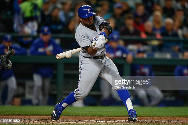Delino DeShields of the Texas Rangers hits an RBI double in the second inning against the Seattle Mariners at Safeco Field on September 6 2016 in...