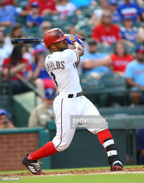 Delino DeShields of the Texas Rangers hits in the first inning against the Chicago White Sox at Globe Life Park in Arlington on August 19 2017 in...