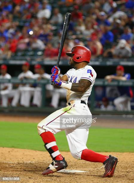 Delino DeShields of the Texas Rangers hits in the seventh inning against the Chicago White Sox at Globe Life Park in Arlington on August 19 2017 in...