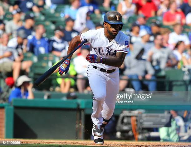 Delino DeShields of the Texas Rangers hits in the sixth inning against the New York Yankees at Globe Life Park in Arlington on September 10 2017 in...