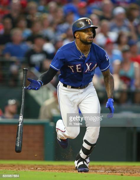 Delino DeShields of the Texas Rangers hits in the third inning against the Chicago White Sox at Globe Life Park in Arlington on August 18 2017 in...
