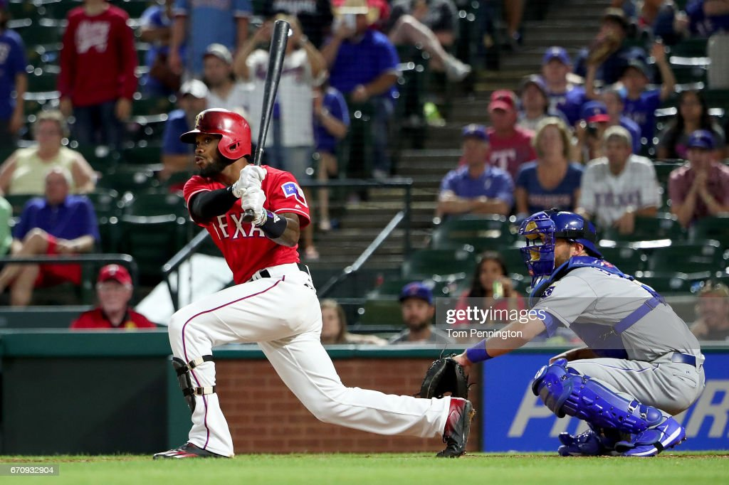 Delino DeShields #3 of the Texas Rangers hits the game winning RBI single against the Kansas City Royals in the bottom of the 13th inning at Globe Life Park in Arlington on April 20, 2017 in Arlington, Texas.
