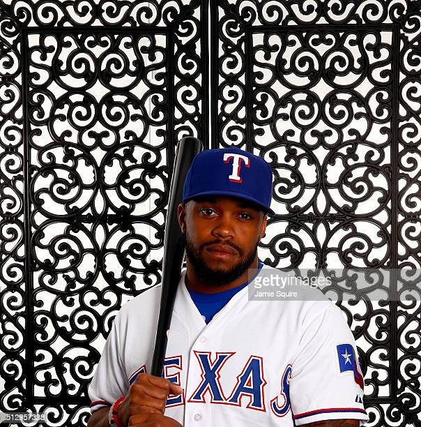 Delino DeShields of the Texas Rangers poses during a spring training photo shoot on February 28 2016 in Surprise Arizona
