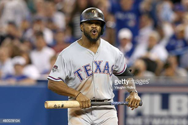 Delino DeShields of the Texas Rangers reacts after a called strike out in the 13th inning against the Toronto Blue Jays during game two of the...
