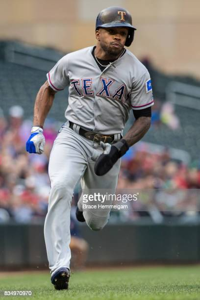 Delino DeShields of the Texas Rangers runs against the Minnesota Twins on August 3 2017 at Target Field in Minneapolis Minnesota The Rangers defeated...