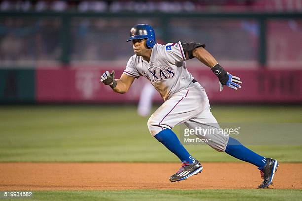 Delino DeShields of the Texas Rangers runs during the first inning of the game against the Los Angeles Angels of Anaheim at Angel Stadium of Anaheim...