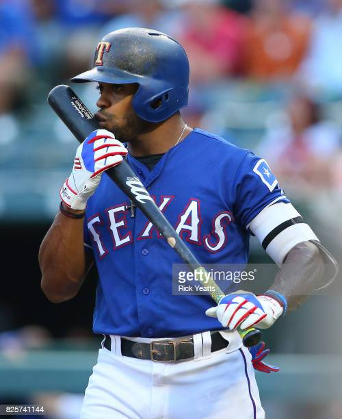 Delino DeShields of the Texas Rangers steps up to bat in the first inning against the Seattle Mariners at Globe Life Park in Arlington on August 2...