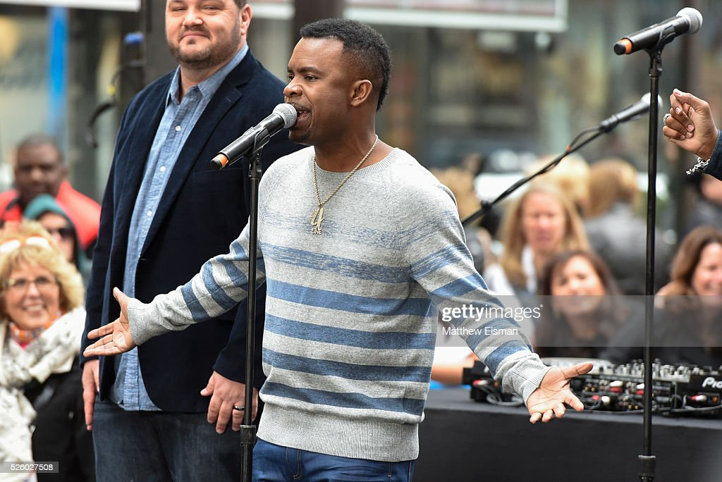 Delious Kennedy of All-4-One performs live on stage for NBC's 'Today' at Rockefeller Plaza on April 29, 2016 in New York City.