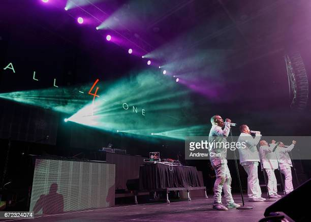 Delious Kennedy Tony Borowiak Alfred Nevarez and Jamie Jones of All4One perform on stage during the 'I Love The 90's Tour' at Abbotsford Centre on...