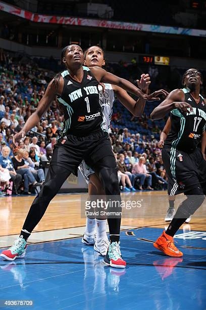 Delisha MiltonJones battles for the rebound against the Minnesota Lynx during the WNBA game on May 24 2014 at Target Center in Minneapolis Minnesota...