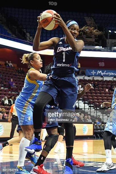 DeLisha MiltonJones of the Atlanta Dream grabs the rebound during a WNBA preseason game between the Atlanta Dream and Chicago Sky on May 5 2016 at...