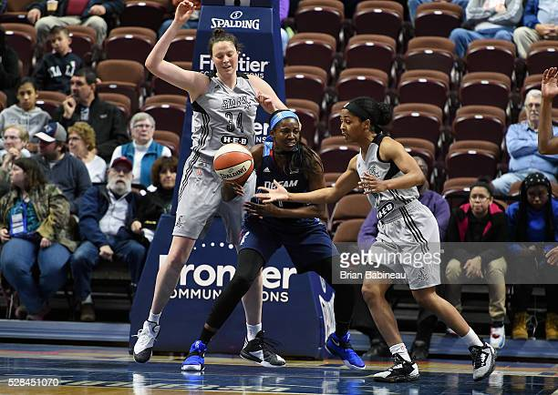 DeLisha MiltonJones of the Atlanta Dream looks to pass the ball against the San Antonio Stars defense on May 4 2016 at the Mohegan Sun in Uncasville...