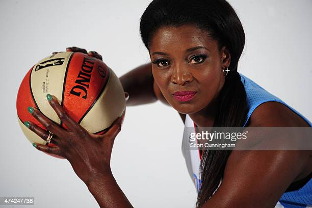 DeLisha MiltonJones of the Atlanta Dream poses for a photograph during WNBA Media Day on May 19 2015 at the Riverside EpiCenter in Austell Georgia...