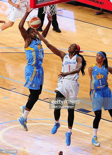 Delisha MiltonJones of the Atlanta Dream puts up a shot against the Chicago Sky on July 13 2014 at McCamish Pavilion in Atlanta Georgia NOTE TO USER...