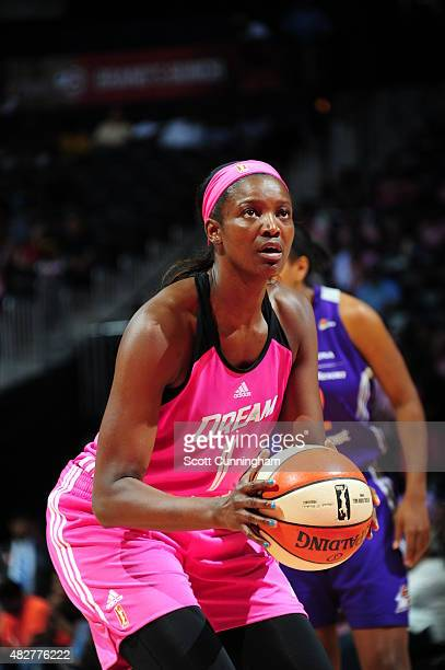 DeLisha MiltonJones of the Atlanta Dream shoots a free throw against the Phoenix Mercury on August 2 2015 at Philips Arena in Atlanta Georgia NOTE TO...