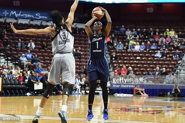 DeLisha MiltonJones of the Atlanta Dream shoots the ball against the San Antonio Stars in a WNBA preseason game on May 4 2016 at the Mohegan Sun...
