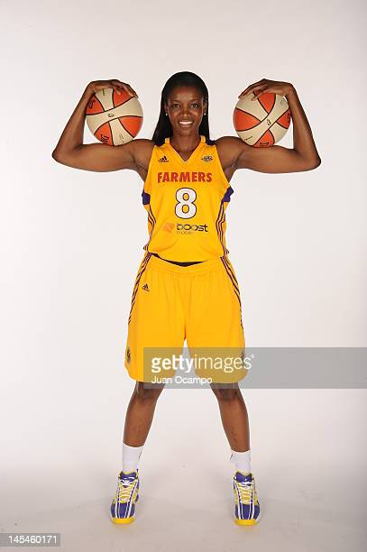 DeLisha MiltonJones of the Los Angeles Sparks poses for a portrait during media day at Los Angeles Southwest College on May 14 2012 in Los Angeles...