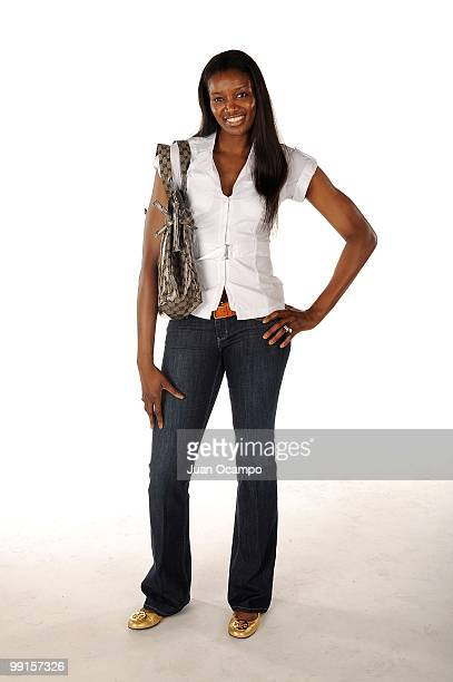DeLisha MiltonJones of the Los Angeles Sparks poses for a portrait during WNBA Media Day on May 10 2010 at St Mary's Academy in Inglewood California...