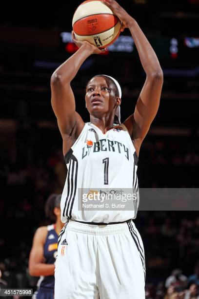 DeLisha MiltonJones of the New York Liberty attempts a free throw against the Connecticut Sun at Madison Square Garden in New York City on June 29...