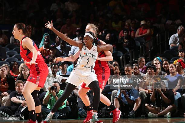 DeLisha MiltonJones of the New York Liberty on defense against the Washington Mystics at Madison Square Garden on June 8 2014 in New York NY NOTE TO...