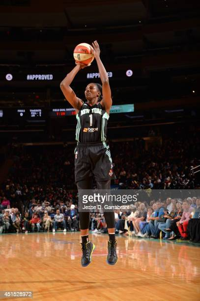 DeLisha MiltonJones of the New York Liberty shoots against the Chicago Sky on May 17 2014 at Madison Square Garden in New York New York NOTE TO USER...