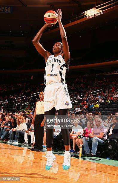 DeLisha MiltonJones of the New York Liberty shoots during a game against the Chicago Sky at Madison Square Garden in New York City on June 27 2014...
