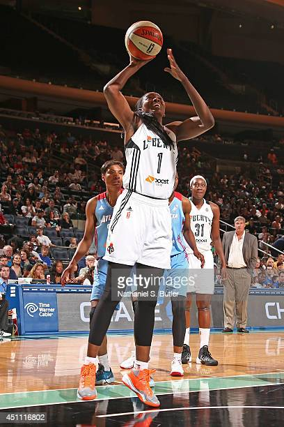 DeLisha MiltonJones of the New York Liberty takes a shot against the Atlanta Dream during a game at Madison Square Garden in New York City on June 22...