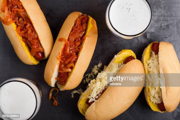 Delisious hot dogs with the spicy onion sauce and sauerkraut