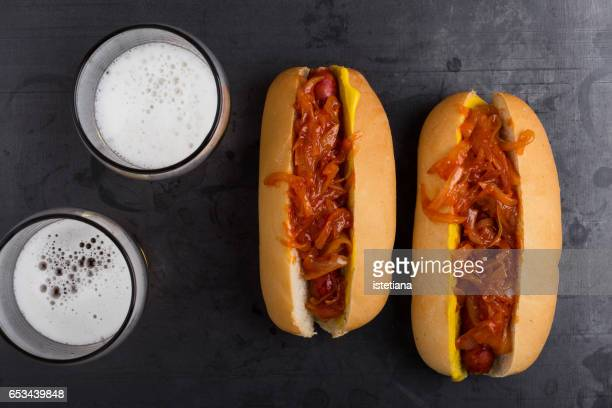 Delisious hot dogs with the spicy onion sauce
