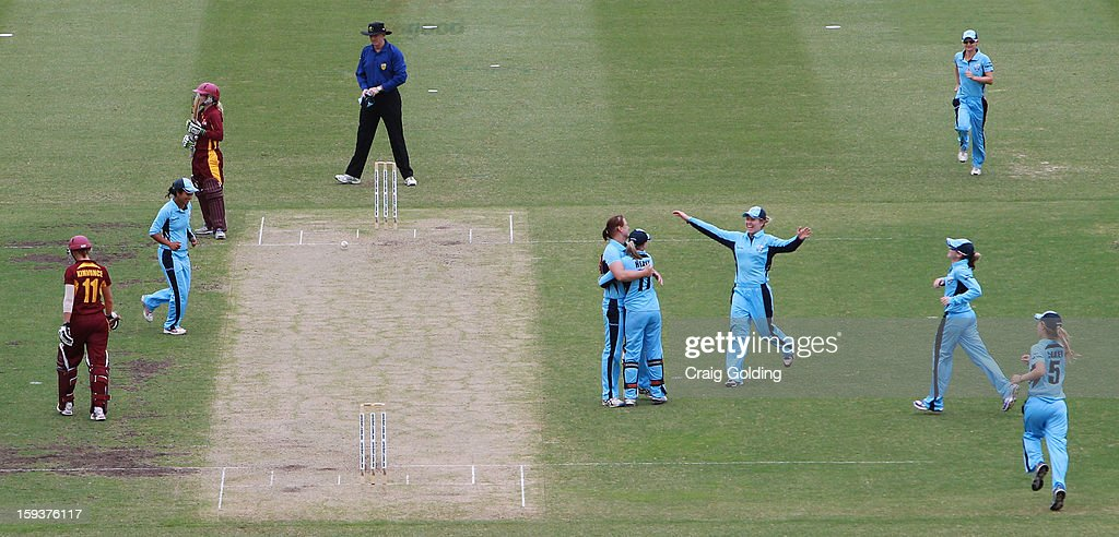 Delissa Kimmince of the Fire out bowled Sara Alley caught Alyssa Healy during the WNCL Final match between the NSW Breakers and the Queensland Fire at the Sydney Cricket Ground on January 13, 2013 in Sydney, Australia.