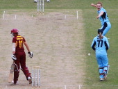 Delissa Kimmince of the Fire out bowled Sara Alley caught Alyssa Healy during the WNCL Final match between the NSW Breakers and the Queensland Fire...