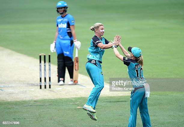 Delissa Kimmince of the Heat celebrates after running out Charlotte Edwards of the Strikers during the Women's Big Bash League match between the...