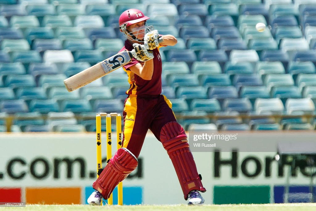 Delissa Kimmince of the Queensland Fire bats during the WT20 Final match between Queensland and the ACT at WACA on February 7 2014 in Perth Australia
