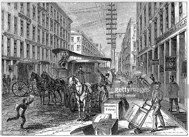 Deliveries and collections taking place at Wells Fargo depot New York USA 1875 Wells Fargo Co was founded in 1852 by Henry Wells and William George...