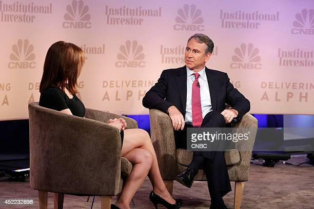 EVENTS Delivering Alpha 2014 Pictured CNBC's Kate Kelly interviews Ken Griffin Founder and Chief Executive Officer Citadel at the CNBC Institutional...