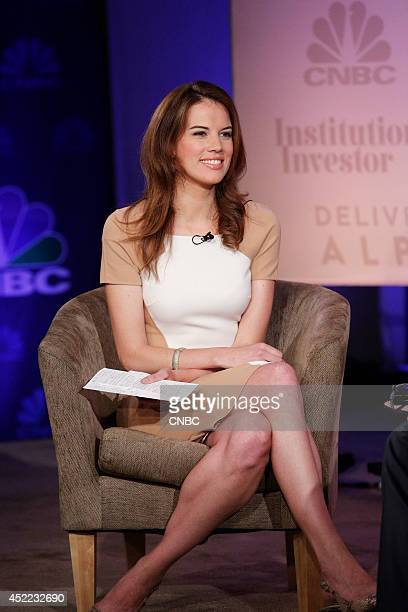 EVENTS Delivering Alpha 2014 Pictured CNBC's Kelly Evans moderates the Global Stage panel at the CNBC Institutional Investor Delivering Alpha...