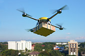 Delivery drone with pizza box. 3D illustration