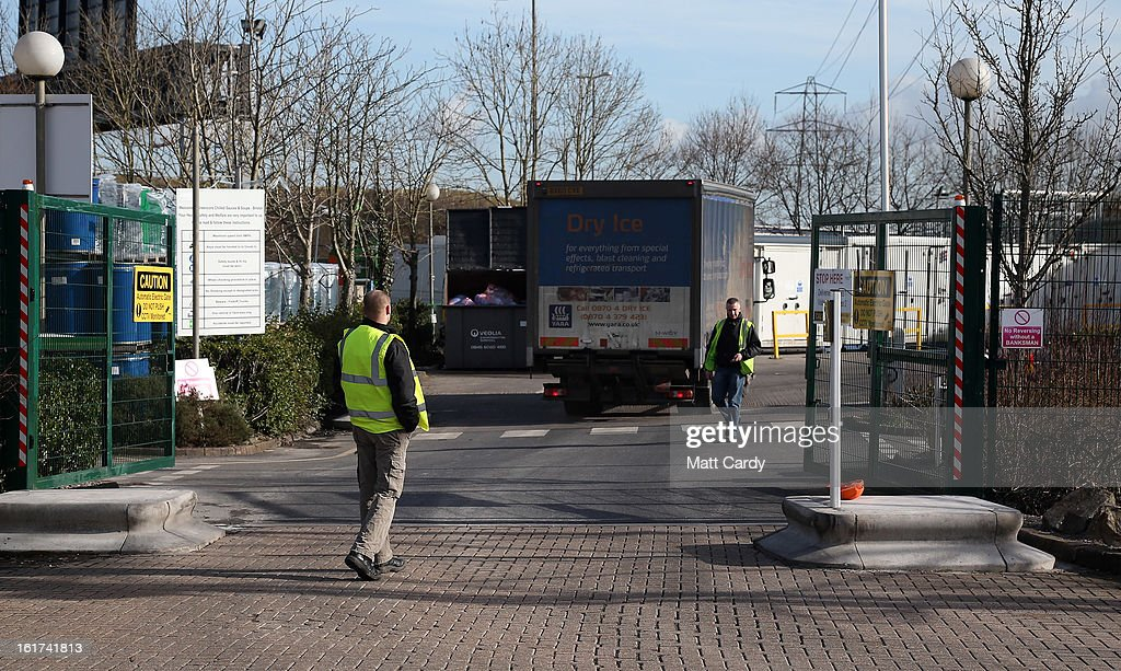 A delivery lorry arives at the rear gates of the Greencore factory building on February 15, 2013 in Bristol, England. The convenience food manufacturer Greencore has been named in the ongoing horse meat scandal after traces of equine DNA were found in beef bolognese sauce that it sold to Asda.