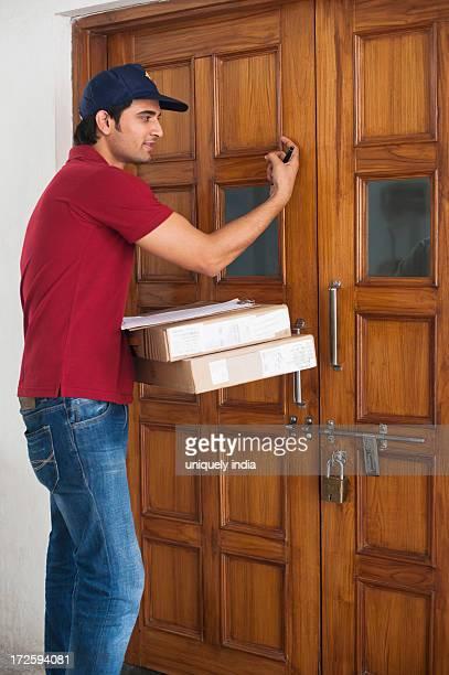 Delivery man delivering parcels