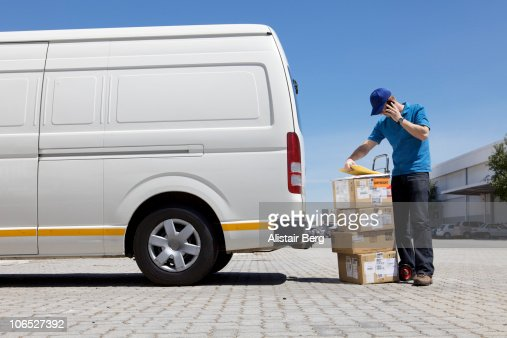 Delivery man on phone