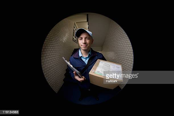 A delivery man with a package
