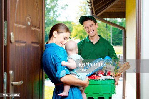 Delivery man with groceries