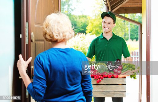Delivery man with organic food