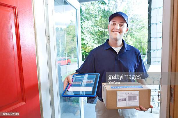 Delivery Person Delivering Package Box Container to Home Customer
